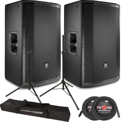 """JBL PRX815W 15"""" 2-Way Active PA Wifi Speaker Monitor Pair + Stands + Cables image"""