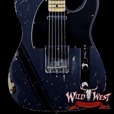 2020 NAMM Fender Custom Shop Dennis Galuszka Masterbuilt 1967 Telecaster Custom Relic Dark Lake Placid Blue w/ Competition Racing Stripe for sale