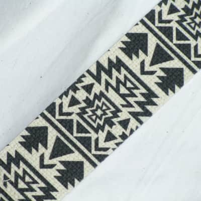 """LM Southwestern (Navajo, etc) style cotton guitar STRAP leather ends NEW 2"""" wide"""
