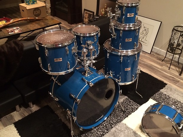 1986 yamaha tour custom 6 piece drum set cobalt blue reverb. Black Bedroom Furniture Sets. Home Design Ideas