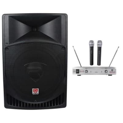 "Rockville RPG15 15"" Powered Active 1000w PA Speaker w/Dual Wireless Mics"