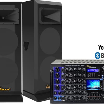"IDOLmain 6000W Professional Mixing Amplifier With 3000W 12"" High-End Speakers Combo"