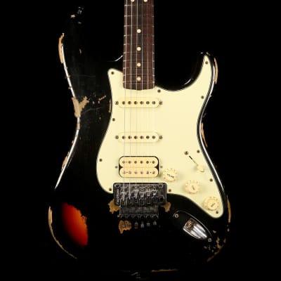 Fender Custom Shop Black Lightning Stratocaster HSS Floyd Rose Black over 3-Tone Sunburst