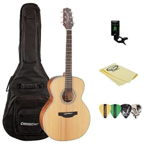 Takamine GN20 Nex Acoustic Guitar, Natural, with ChromaCast Acoustic Padded Gig Bag, Pick Sampler, Tuner, & Polish Cloth for sale