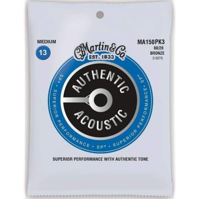 Martin MA150PK3 SP 80/20 Bronze Medium Authentic Acoustic Guitar Strings (3-Pack)