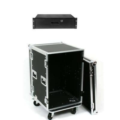"OSP 16 Space 20"" Deep ATA Rack Road Case & 3 Space Rack Drawer w/Locl & Keys"