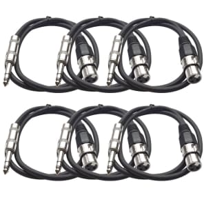"""Seismic Audio SATRXL-F2BLACK6 XLR Female to 1/4"""" TRS Male Patch Cables - 2' (6-Pack)"""