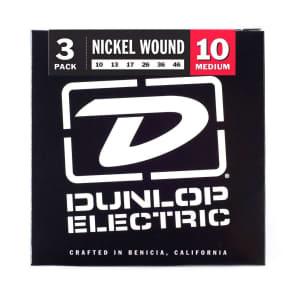 Dunlop 3PDEN1046 Nickel-Plated Steel Electric Guitar Strings - Medium (10-74) 3-Pack