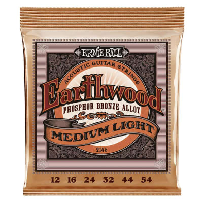 Ernie Ball 2146 Earthwood Medium Light Phosphor Bronze Acoustic Strings; 12-54