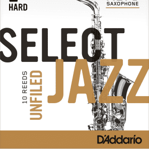 Rico RRS10ASX2H Select Jazz Alto Saxophone Reeds, Unfiled - Strength 2 Hard (10-Pack)
