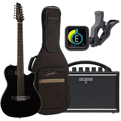 Godin A12 12-string, Black HG (048588), BOSS Katana Compact 7, KLIQ UberTuner Bundle