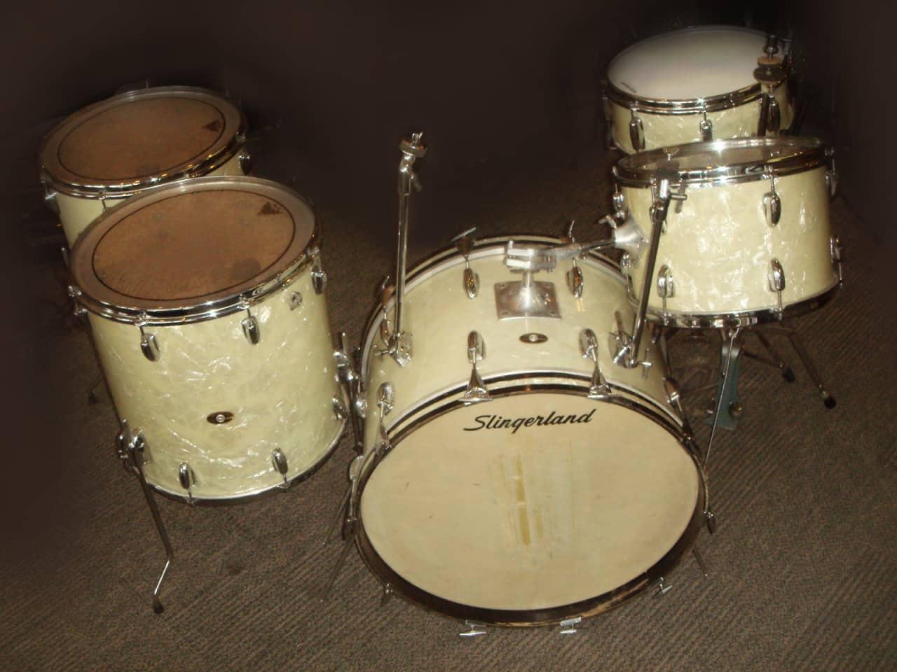 slingerland 1969 white marine pearl 5 pc drum set buddy reverb. Black Bedroom Furniture Sets. Home Design Ideas