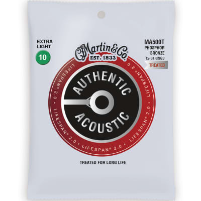 Martin Authentic Lifespan 2.0 Acoustic Guitar Strings - 12 String, 92/8, Extra Light for sale