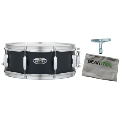 Pearl MUS1455M227 Modern Utility 14X5.5 Maple Snare Drum, Satin Black w/ Geartree Cloth and Drum Key