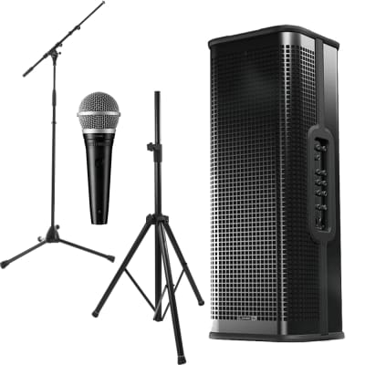 Line 6 StageSource L3t 1400W 3-way Smart Speaker System +Dynamic Vocal Microphone + Stand and Microphone Stand.