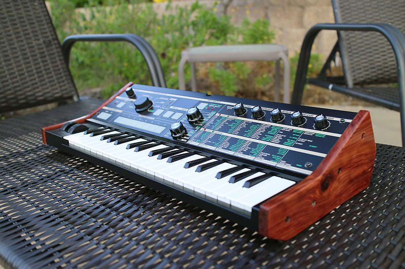 CUSTOM Korg microKORG Synthesizer/Vocoder: Black, Moog-Style Tilt,  Beautiful Wood Sides