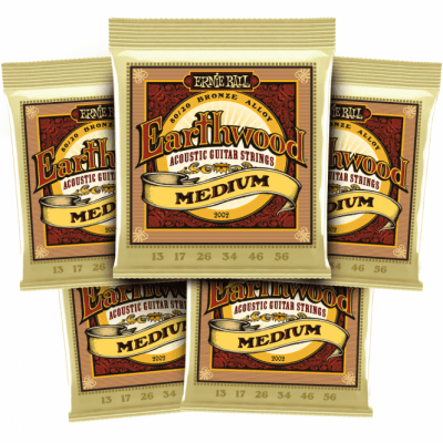 Ernie Ball Earthwood Medium 80/20 Bronze Acoustic Strings 5 Packs(13 -56) *Free Shipping in the USA*