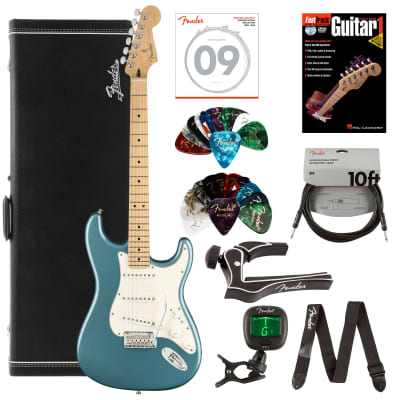 Fender Player Stratocaster, Maple - Tidepool Bundle with Hard Case, Cable, Tuner, Strap, Strings, Picks, Capo, Fender Play Online Lessons, and Austin Bazaar Instructional DVD for sale