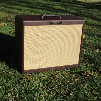 Carl's Custom Amps 2x10 cab  Burgundy Snakeskin and Cane  with Weber Alinco 10A125s 8 ohm  In Stock! for sale