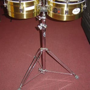 """Latin Percussion LP255-B Tito Puente Signature 12"""" / 13"""" Brass Timbales w/ Stand"""