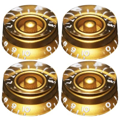 (4) Gold Vintage EMBOSSED Speed Knobs Fits CTS Split Shaft Pots for Gibson USA