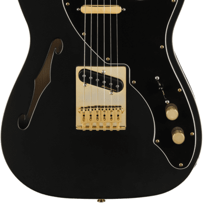 Fender Limited Edition Deluxe Telecaster Thinline Satin Black Gold Hardware w/ Bag for sale