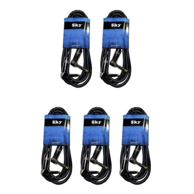 New Sky USA 6 Foot 1/4 Inch Right Angle to Right Angle Patch Instrument Cable - 5 PACK