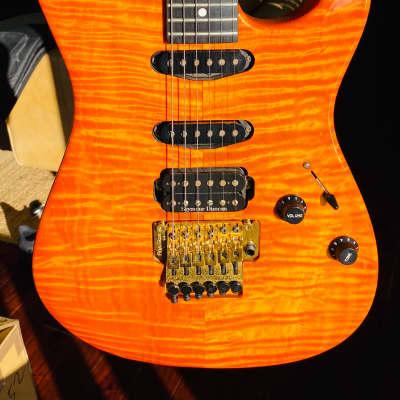 Deviser Custom Shop ST Floyd Rose 1980 Tangerine Flamed Maple (ESP Lynch REH vibe) - Hard Shell Case for sale