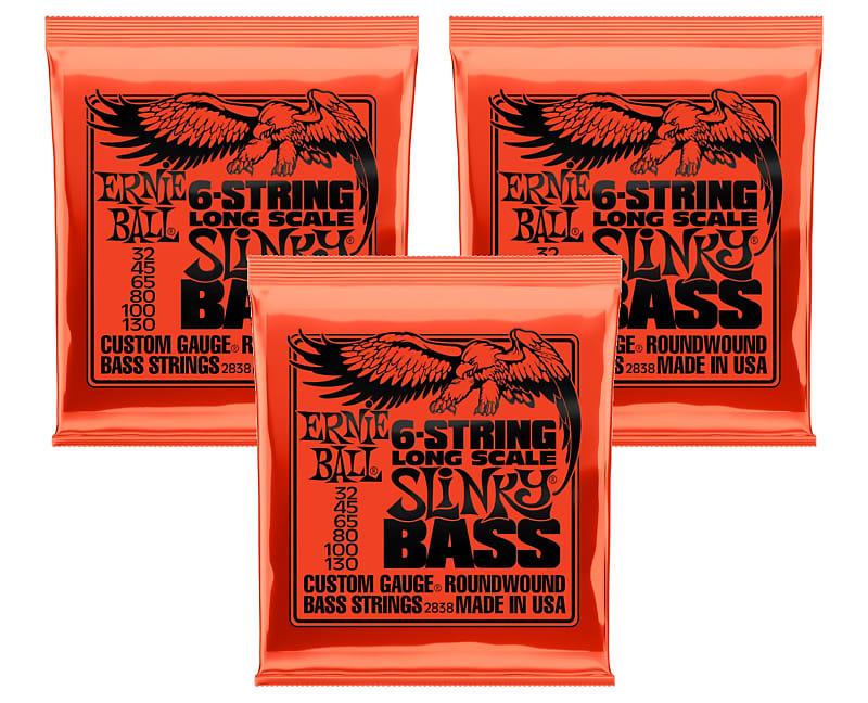 3 pack ernie ball 2838 6 string slinky bass guitar strings reverb. Black Bedroom Furniture Sets. Home Design Ideas