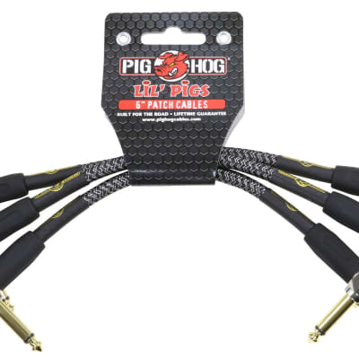 5-Pack Pig Hog 1//4 Amp-Grill Tweed Guitar Instrument Cable Cord 20ft Right-Angle
