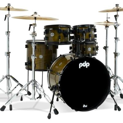 PDP Concept LTD Olive Stain Lacquer Drum Set - 22, 10, 12, 16, 5.5x13 - PDLT2215GB