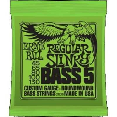 Ernie Ball 2836 Regular Slinky Nickel Wound 5-String Bass Strings; 45-130