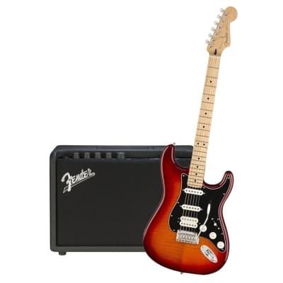 Fender Player Stratocaster HSS Plus Top Aged Cherry Burst Maple Neck & Fender Mustang GT 40 Bundle for sale