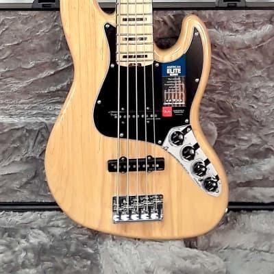 Fender American Elite Jazz Bass V Ash - Natural with Maple Fingerboard (0197102721) for sale