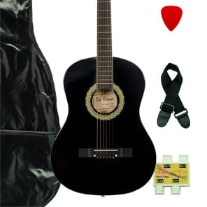 De Rosa DK3810R-BK Kids Acoustic Guitar Outfit Black w/Gig Bag, Pick, Strings, Pitch Pipe & Strap for sale