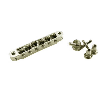 TonePros® Standard Tune-O-Matic Bridge With Small Posts And Roller Saddles Nashville Nickel Gibson