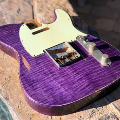 Real Life Relics Tele Telecaster Body Aged Flame Maple Slab Top Trans Purple Nitro Lacquer image