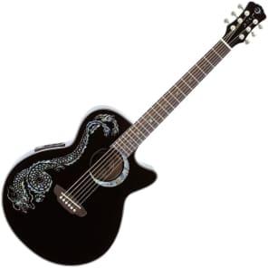 Luna Fauna Dragon Folk Acoustic-Electric Guitar Black