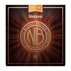 D'Addario NB1256 Nickel Bronze Acoustic Guitar Strings, Light Top / Medium Bottom Gauge