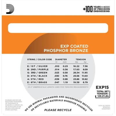 D'Addario EXP15 Coated Phosphor Bronze Acoustic Strings, Extra Light, 10-47