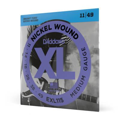 D'Addario EXL115 Nickel Wound Medium / Blues-Jazz Rock Electric Guitar Strings, 11-49 Nickel
