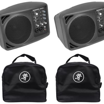 (2) Mackie SRM150 Powered Active PA Monitor Speaker + (2) Mackie Travel Bags