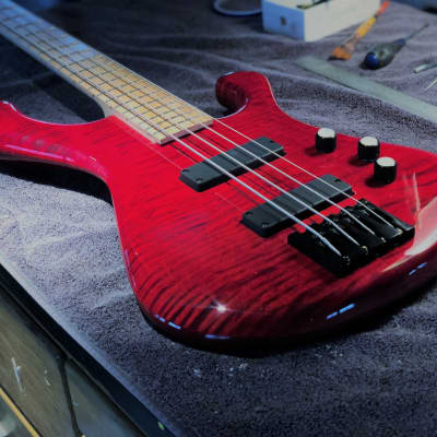 Bootleg Guitars DAWG Bass 4 string 2018 Trans Red for sale