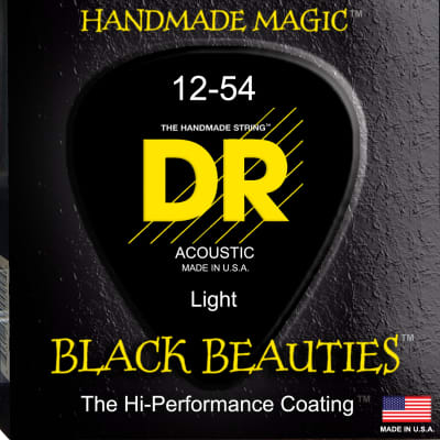 DR Strings BKA-12 Black K3 Coated Acoustic Strings - 12-54 for sale