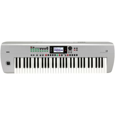 Korg i3 61-Key Portable Battery Powered Music Workstation Keyboard Synth, Silver