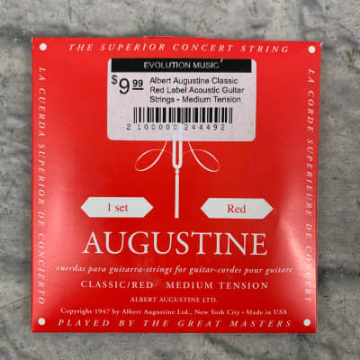Albert Augustine Classic Red Label Acoustic Guitar Strings - Medium Tension