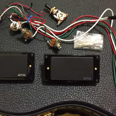 EMG 81 & 60 Pickup Set Pickup Rings and All Electronics | Black w/ Gold Mounting Hardware