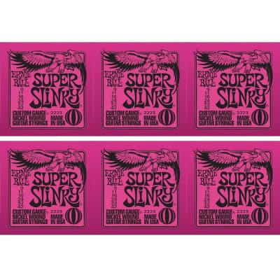 ERNIE BALL Super Slinky Nickel Wound Electric Guitar Strings (2223) - 6 Pack
