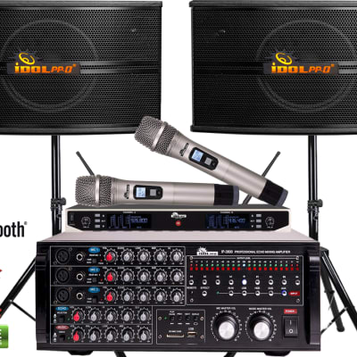 IDOLpro 1300Watts IP-3800 Home Karaoke Mixing Amplifier & IPS-590 Speaker Plus Wireless Microphones