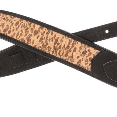 Black, Padded Guitar Strap With Holz-Leoparden-Muster
